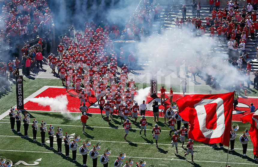 Ohio State Buckeyes run onto the field before their game against Maryland Terrapins in Ohio Stadium for their game against Maryland Terrapins on October 10, 2015.  (Dispatch photo by Kyle Robertson)