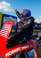 Sep 17, 2017; Concord, NC, USA; NHRA funny car driver Robert Hight celebrates after winning the Carolina Nationals at zMax Dragway. Mandatory Credit: Mark J. Rebilas-USA TODAY Sports