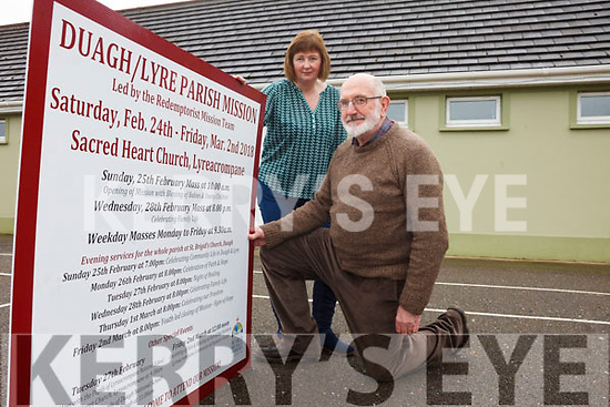 Breda Keane and Larry Long are getting ready for the Duagh/Lyreacrompane Parish Mission, which takes place from Saturday, February 24 to Friday March 2.
