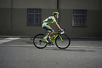 Ivan Rovny (RUS/Tinkoff-Saxo) to the start<br /> <br /> Giro d'Italia 2015<br /> stage 19: Gravellona Toce - Cervinia (236km)