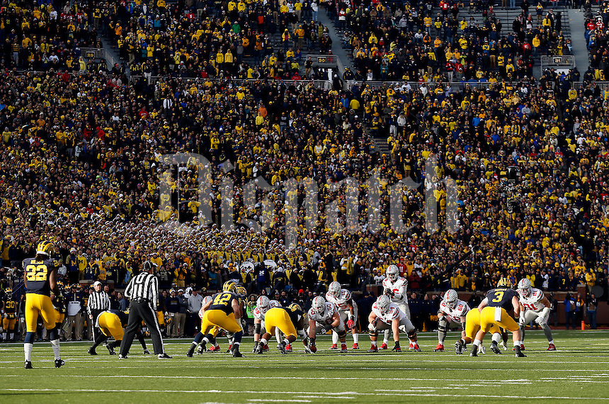 Ohio State Buckeyes quarterback J.T. Barrett (16) takes a snap during the fourth quarter of the NCAA football game against the Michigan Wolverines at Michigan Stadium in Ann Arbor on Nov. 28, 2015. Ohio State won 42-13. (Adam Cairns / The Columbus Dispatch)