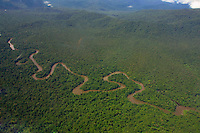 East Sepik Province. Flying over the meandering Karawari River, in a Britten Norman Islander operated by Trans Niugini Tours coming from Tari.