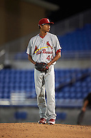 Palm Beach Cardinals pitcher Silfredo Garcia (44) gets ready to deliver a pitch during the second game of a doubleheader against the Dunedin Blue Jays on July 31, 2015 at Florida Auto Exchange Stadium in Dunedin, Florida.  Dunedin defeated Palm Beach 4-0.  (Mike Janes/Four Seam Images)