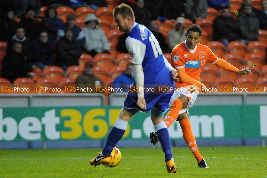 Thomas Ince of Blackpool has a shot at goal - Blackpool vs Ipswich Town - Sky Bet Championship Football at Bloomfield Road, Blackpool, Lancashire - 09/11/13 - MANDATORY CREDIT: Greig Bertram/TGSPHOTO - Self billing applies where appropriate - 0845 094 6026 - contact@tgsphoto.co.uk - NO UNPAID USE