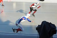 SCHAATSEN: BOEDAPEST: Essent ISU European Championships, 07-01-2012, 500m Men, Benjamin Macé FRA, Haralds Silovs LAT, ©foto Martin de Jong