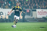 Solna 2014-03-31 Fotboll Allsvenskan AIK - IFK G&ouml;teborg :  <br /> AIK:s Per Karlsson i aktion <br /> (Foto: Kenta J&ouml;nsson) Nyckelord:  AIK Gnaget Solna IFK G&ouml;teborg Bl&aring;vitt portr&auml;tt portrait
