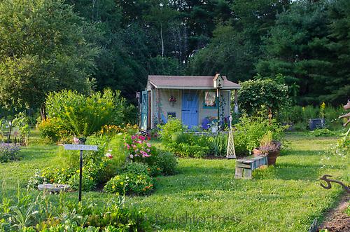 Sprinkler on in the community Garden, Summer, Maine, USA