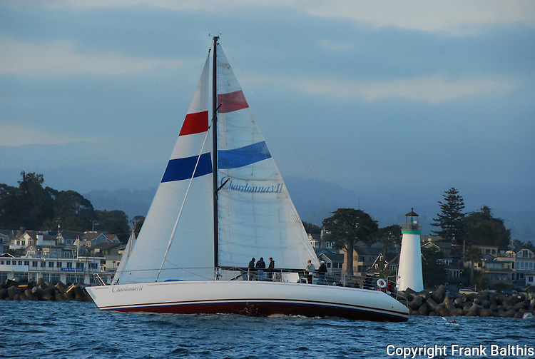 Chardonnay II sailing near Walton Lighthouse in Santa Cruz