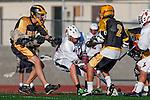 Palos Verdes, CA 03/31/10 - Ryan Brothers (PV # 18) and \PJ35\ in action during the Peninsula-Palos Verdes Junior Varsity Lacrosse game at Palos Verdes High School.  Palos Verdes defeated Peninsula.