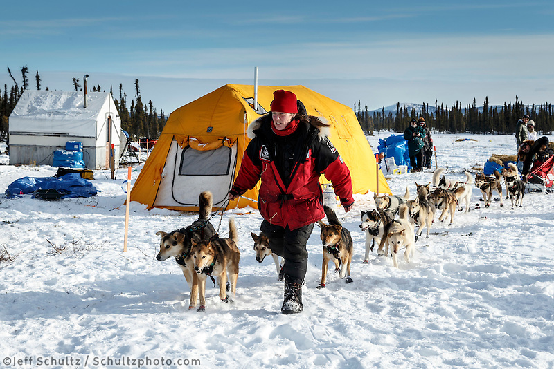 Aliy Zirkle leads her dogs through the Cripple checkpoint on Thursday March 10 during Iditarod 2016.  Alaska.    <br /> <br /> Photo by Jeff Schultz (C) 2016  ALL RIGHTS RESERVED
