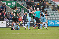 Paul Hayes of Wycombe Wanderers is angered by a challenge during the Sky Bet League 2 match between Plymouth Argyle and Wycombe Wanderers at Home Park, Plymouth, England on 30 January 2016. Photo by Mark  Hawkins / PRiME Media Images.