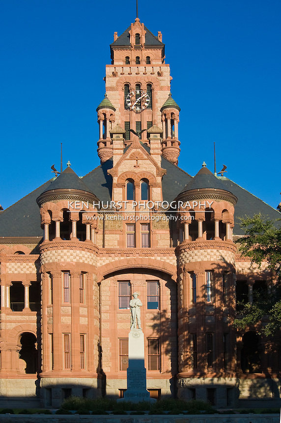 Ellis County Courthouse building in downtown Waxahachie, Texas in late afternoon summer.