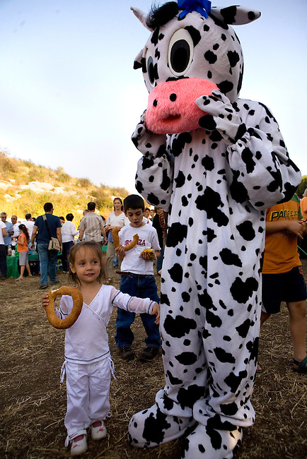 A child stands next to a man in a cow suit during the festival of Shavuot in Kibbutz Mishmar Haemek..Shavuot, the Jewish holiday of the harvest is the most important holiday in the Kibbutz..All of the members of Kibbutz Mishmar Haemek gathered on Wednesday, May 23 in a field to celebrate it by showing the first-fruits of the season..Mishmar Haemek is a very traditional Kibbutz, completely collective.
