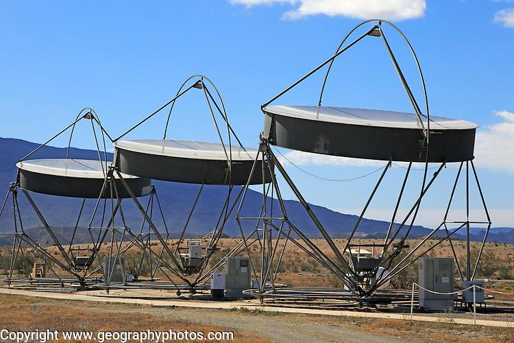 Parabolic discs at the solar energy scientific research centre, Tabernas, Almeria, Spain