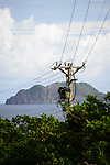 Orchid Island (蘭嶼), Taiwan -- Archaic cables with uninhabited 'Little Orchid Island' in the background.