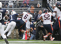 State College, PA - 11/02/2013:  Illinois RB Josh Ferguson (6) leaps into the end zone for a touchdown.  Penn State defeated Illinois by a score of 24-17 in overtime on Saturday, November 2, 2013, at Beaver Stadium.<br /> <br /> Photos by Joe Rokita / JoeRokita.com