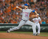 New York Mets relief pitcher Logan Verrett (35) pitches in the sixth inning against the Baltimore Orioles at Oriole Park at Camden Yards in Baltimore, Maryland on Wednesday, August 19, 2015.  The Orioles won the game 5 - 4.<br /> Credit: Ron Sachs / CNP<br /> (RESTRICTION: NO New York or New Jersey Newspapers or newspapers within a 75 mile radius of New York City)