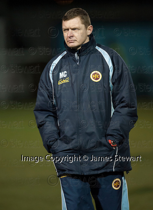 Stenny manager Martyn Corrigan at the end of the game.