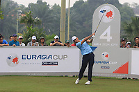 Rafa Cabrera Bello (Europe) on the 4th tee during the Saturday Foursomes of the Eurasia Cup at Glenmarie Golf and Country Club on the 13th January 2018.<br /> Picture:  Thos Caffrey / www.golffile.ie