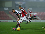 Leon Clarke of Sheffield Utd scores his second goal during the Checkatrade Trophy match at Blundell Park Stadium, Grimsby. Picture date: November 9th, 2016. Pic Simon Bellis/Sportimage