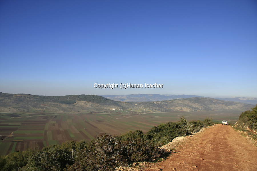 Israel, Lower Galilee. Turan scenic road overlooking Beit Netofa valley