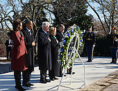 United States President Barack Obama (2nd-L), First Lady Michelle Obama (L), Former U.S. President Bill Clinton (2nd-R) and Former Secretary of State Hillary Clinton lay a wreath at the gravesite for President John F. Kennedy at Arlington National Cemetery in Arlington, Virginia, November 20, 2013. This Friday will mark the 50th anniversary of the assassination of President Kennedy on November 22, 1963. <br /> Credit: Pat Benic / Pool via CNP