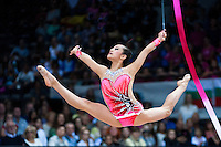 September 11, 2015 - Stuttgart, Germany - LAURA ZENG of USA performs with ribbon in the All Around to take 8th place. By placing in the top 15-gymnasts, Laura wins ticket to Rio 2016 Olympics.