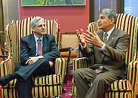 United States Senator Joe Manchin III (Democrat of West Virginia), right, speaks to reporters as he meets Judge Merrick Garland, chief justice for the US Court of Appeals for the District of Columbia Circuit, left, who is US President Barack Obama's selection to replace the late Associate Justice Antonin Scalia on the US Supreme Court, as the Judge sits for a photo op in the Senator's office on Capitol Hill in Washington, DC on Tuesday, April 5, 2016. Photo Credit: Ron Sachs/CNP/AdMedia