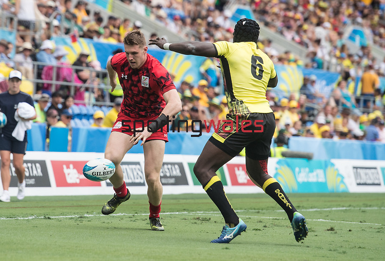 Wales v Uganda<br /> <br /> *This image must be credited to Ian Cook Sportingwales and can only be used in conjunction with this event only*<br /> <br /> 21st Commonwealth Games - Rugby 7's - Day 10 - 14\04\2018 - Robina Stadium - Gold Coast City - Australia