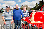 Liam Herlihy, John Nolan and Patrick Herlihy attending the Castleisland vintage run in aid of break through cancer research at the  Half Way Bar Ballymacelligott on Sunday
