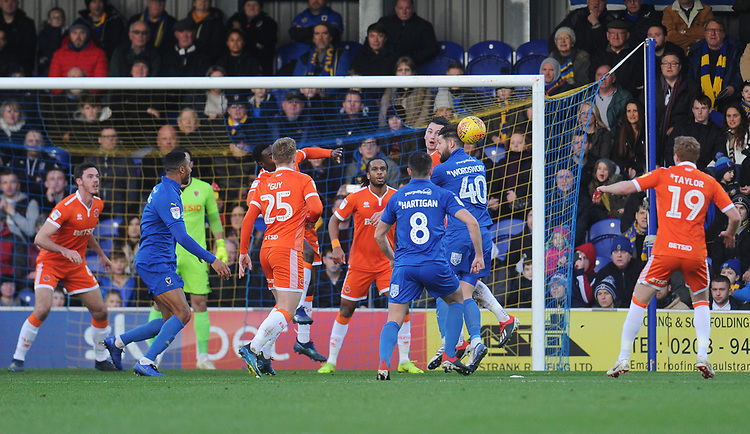 Blackpool's Paudie O'Connor heads clear<br /> <br /> Photographer Kevin Barnes/CameraSport<br /> <br /> The EFL Sky Bet League One - AFC Wimbledon v Blackpool - Saturday 29th December 2018 - Kingsmeadow Stadium - London<br /> <br /> World Copyright © 2018 CameraSport. All rights reserved. 43 Linden Ave. Countesthorpe. Leicester. England. LE8 5PG - Tel: +44 (0) 116 277 4147 - admin@camerasport.com - www.camerasport.com