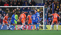 Blackpool's Paudie O'Connor heads clear<br /> <br /> Photographer Kevin Barnes/CameraSport<br /> <br /> The EFL Sky Bet League One - AFC Wimbledon v Blackpool - Saturday 29th December 2018 - Kingsmeadow Stadium - London<br /> <br /> World Copyright &copy; 2018 CameraSport. All rights reserved. 43 Linden Ave. Countesthorpe. Leicester. England. LE8 5PG - Tel: +44 (0) 116 277 4147 - admin@camerasport.com - www.camerasport.com