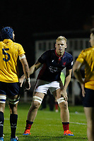 Hugh Tizard of London Scottish in action during the Championship Cup match between London Scottish Football Club and Yorkshire Carnegie at Richmond Athletic Ground, Richmond, United Kingdom on 4 October 2019. Photo by Carlton Myrie / PRiME Media Images