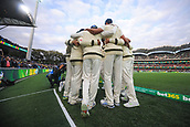 3rd December 2017, Adelaide Oval, Adelaide, Australia; The Ashes Series, Second Test, Day 2, Australia versus England; Australian players speak in a huddle before fielding