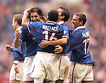 Gabriel Amato celebrates scoring for Rangers