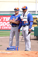 New York Mets John Franco (45) and bullpen coach Ricky Bones (25) in the bullpen during a spring training game against the Miami Marlins at the Roger Dean Complex in Jupiter, Florida on March 11, 2015. Miami defeated Mets 7-4. (Stacy Jo Grant/Four Seam Images)