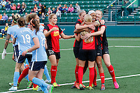 Rochester, NY - Saturday May 21, 2016: Western New York Flash goal celebration. The Western New York Flash defeated Sky Blue FC 5-2 during a regular season National Women's Soccer League (NWSL) match at Sahlen's Stadium.