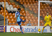 Anthony Stewart of Wycombe Wanderers scores the equalising goal during the The Checkatrade Trophy match between Blackpool and Wycombe Wanderers at Bloomfield Road, Blackpool, England on 10 January 2017. Photo by Andy Rowland / PRiME Media Images.