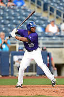 Tulsa Drillers first baseman Harold Riggins (35) at bat during the first game of a doubleheader against the Frisco Rough Riders on May 29, 2014 at ONEOK Field in Tulsa, Oklahoma.  Frisco defeated Tulsa 13-4.  (Mike Janes/Four Seam Images)