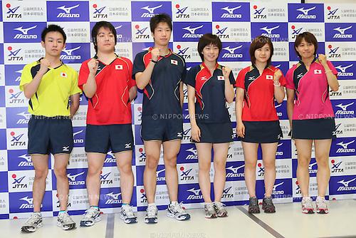 (L to R) Koki Niwa (JPN), Seiya Kishikawa (JPN), Jun Mizutani (JPN), .Kasumi Ishikawa (JPN), Ai Fukuhara (JPN), Sayaka Hirano (JPN), JULY 9, 2012 - Table Tennis : Japan National Team Press Conference for London Olympic Games 2012 at Ajinomoto National Training Center, Tokyo, Japan. (Photo by YUTAKA/AFLO SPORT)