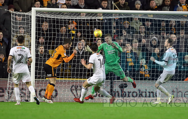 Jake Eastwood of Sheffield Utd makes a save during the Championship match at the Molineux Stadium, Wolverhampton . Picture date 3rd February, 2018. Picture credit should read: Simon Bellis/Sportimage