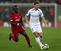 5th November 2019; Anfield, Liverpool, Merseyside, England; UEFA Champions League Football, Liverpool versus Genk; Patrik Hrosovsky of KRC Genk shields the ball from Sadio Mane of Liverpool  - Editorial Use