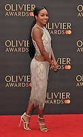 Adrienne Warren at the Olivier Awards 2019, Royal Albert Hall, Kensington Gore, London, England, UK, on Sunday 07th April 2019.<br /> CAP/CAN<br /> ©CAN/Capital Pictures