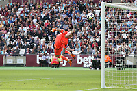 Everton's Jordan Pickford cannot stop  Manuel Lanzini's second half shot which resulted in West Ham United's third goal<br /> <br /> Photographer Rob Newell/CameraSport<br /> <br /> The Premier League - West Ham United v Everton - Sunday 13th May 2018 - London Stadium - London<br /> <br /> World Copyright &copy; 2018 CameraSport. All rights reserved. 43 Linden Ave. Countesthorpe. Leicester. England. LE8 5PG - Tel: +44 (0) 116 277 4147 - admin@camerasport.com - www.camerasport.com