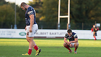 London Scottish players are left disappointed during the Greene King IPA Championship match between London Scottish Football Club and Jersey at Richmond Athletic Ground, Richmond, United Kingdom on 7 November 2015. Photo by Andy Rowland.