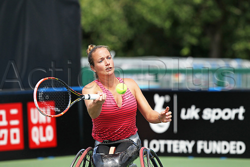 17.07.2015.  Nottingham Tennis Centre, Nottingham, England. British Open Wheelchair Tennis Championships. Forehand from Jiske Griffioen (NED) in her semi final match against Jordanne Whiley (GBR)