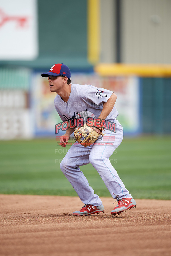 Reading Fightin Phils second baseman Scott Kingery (25) during a game against the Erie SeaWolves on May 18, 2017 at UPMC Park in Erie, Pennsylvania.  Reading defeated Erie 8-3.  (Mike Janes/Four Seam Images)