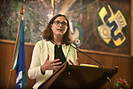 Cecilia Malmstrom, Trade Commissioner of the European Union, gives the Schuman Lecture at the Australian National University, Canberra, Monday, June 18, 2018.