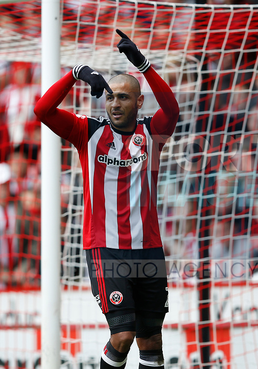 Leon Clarke of Sheffield Utd asks to go off injured during the English League One match at  Bramall Lane Stadium, Sheffield. Picture date: April 30th 2017. Pic credit should read: Simon Bellis/Sportimage