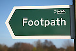 Suffolk County Council public footpath sign close up